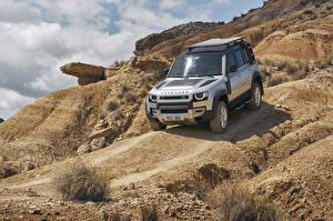 Фотография Land Rover SUV Серебристый 2020 Defender 110 Explorer Pack First Edition Worldwide Автомобили