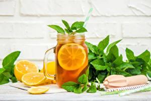 Картинка Лимоны Напиток Лимонад Мяты Банке Пища