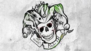 Картинки Логотип эмблема Отряд самоубийц 2016 Черепа Тату Joker кино