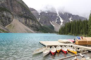 Обои Пирсы Лодки Озеро Гора Парк Канада Moraine Lake, Alberta Природа