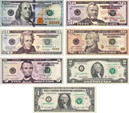 Картинки Деньги Банкноты Доллары 1 2 5 10 20 50 100