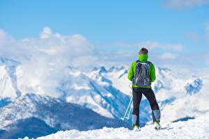 Обои Гора Лыжный спорт Снега Вид сзади Рюкзак