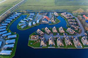 Фото Голландия Дома Водный канал Сверху Waterpark Terkaple Города
