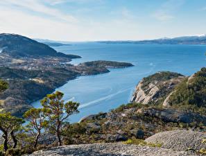 Обои Норвегия Побережье Залив Skorpo Природа