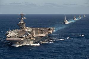 Обои Океан Корабль Авианосец USS Theodore Roosevelt, TR Strike Group, CVN 71 военные