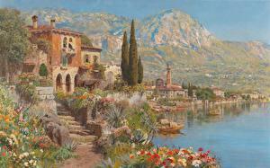 Фотографии Картина Здания Alois Arnegger, View of Riva on Lake Garda Природа