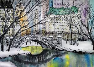 Фотографии Реки Мост Дома Рисованные Нью-Йорк gapstow bridge, central park