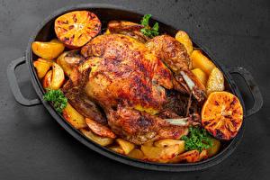 Картинка Курица запеченная Картофель Апельсин
