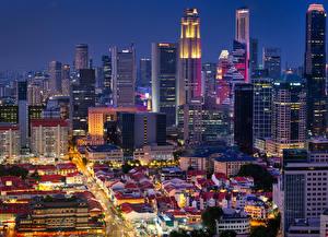Фото Сингапур Здания Небоскребы Вечер