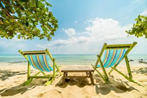 Фотографии Небо Море Лежаки Пляжа Релакс Природа