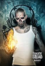 Картинка Отряд самоубийц 2016 Мужчины Пламя Татуировка Майка El Diablo Фильмы