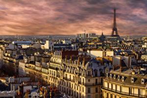 Фотография Рассвет и закат Франция Дома Париж Башни Эйфелева башня город