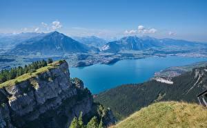 Фото Швейцария Гора Озеро Пейзаж Утес Mount Niederhorn, Lake Thun Природа