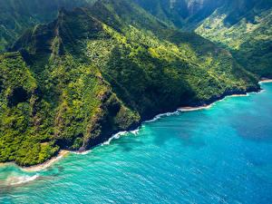 Картинка Штаты Берег Гора Гавайские острова Сверху Природа