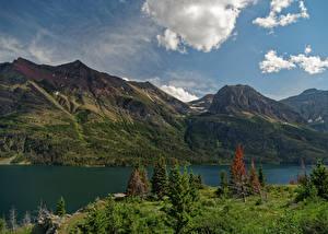 Обои Америка Парки Озеро Гора Glacier National Park St. Mary Lake Природа