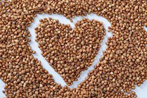 Обои для рабочего стола День всех влюблённых Гречка Зерно Сердечко Пища