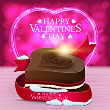 Картинка День всех влюблённых Векторная графика Английская Слова Подарок Сердечко