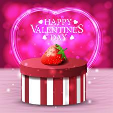 Обои День святого Валентина Векторная графика Клубника Английская Слова Подарок Коробка Сердечко