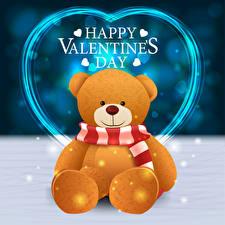 Фотографии День святого Валентина Векторная графика Плюшевый мишка Английская Слова Серце Шарфом