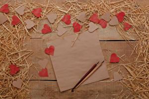 Обои День святого Валентина Доски Солома Лист бумаги Серце Шаблон поздравительной открытки