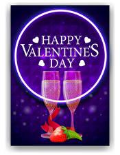 Фото Векторная графика День всех влюблённых Игристое вино Клубника Английская Слова Бокал 2 Сердечко