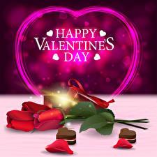 Обои Векторная графика День святого Валентина Роза Английский Слово - Надпись Красные Сердца Лепестки Цветы