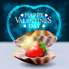 Фото Векторная графика День всех влюблённых Ракушки Клубника Английская Слова Сердечко