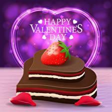 Обои Векторная графика День всех влюблённых Клубника Английская Слова Подарок Сердце