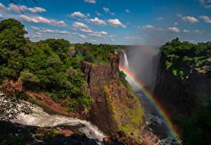 Фото Водопады Утес Радуги Кустов Victoria Falls Zimbabwe