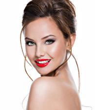 Картинки Белом фоне Шатенки Лица Смотрит Красными губами Мейкап девушка
