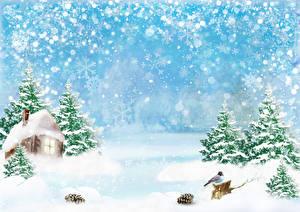 Фото Зима Дома Птица Снег Снежинка Ели Шишки Шаблон поздравительной открытки Природа
