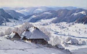 Фотография Зимние Здания Картина Пейзаж Karl Hauptmann, Große Schwarzwald Winterlandschaft, Great Black Forest winter landscape Природа