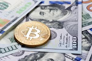 Фотография Биткоин Монеты Доллары Деньги