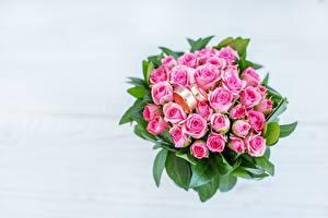 Фото Букет Розы Ювелирное кольцо Розовый Цветы