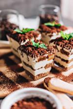Фотографии Торты Пирожное Шоколад Мятой Пища