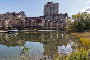 Фото Канада Здания Река Пирсы Катера Kelowna Города