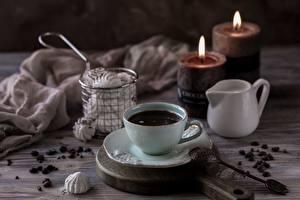 Картинки Свечи Кофе Чашке Ложки Зерна безе Пища