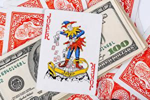 Фотографии Игральные карты Деньги Купюры Доллары joker