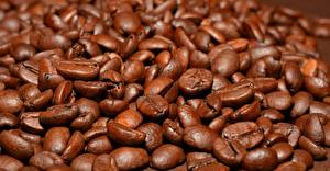 Картинки Кофе Много Вблизи Зерна Коричневый Еда