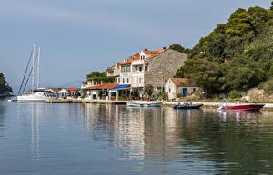 Фото Хорватия Берег Дома Пристань Лодки Катера Pomena Mljet Города