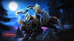 Фото DOTA 2 Волшебные животные Воители Luna Игры Девушки