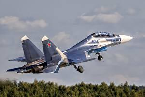 Фото Самолеты Истребители Су-30 Взлетают Русские Su-30SM Авиация