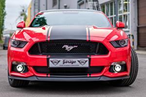 Обои Форд Спереди Полосатый Красная Mustang GTR авто