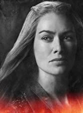 Обои Игра престолов (телесериал) Lena Headey Крупным планом Лица Смотрит Cersei Lannister Фильмы Знаменитости