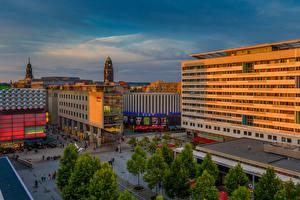 Фото Германия Дрезден Здания Вечер Улице