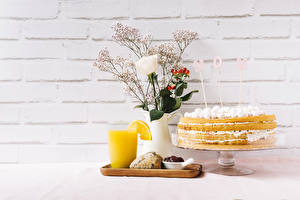 Фотографии Праздники Роза Торты Сок День матери Вазы Английская Слово - Надпись Стена Стакана Пища