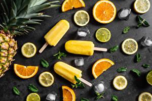 Картинки Мороженое Лимоны Апельсин Льда Нарезка