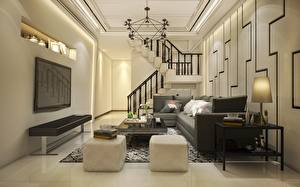 Обои Интерьер Телевизор Стол Диван Подушки Лестница Люстра Комната Гостиная Дизайн 3D Графика картинки