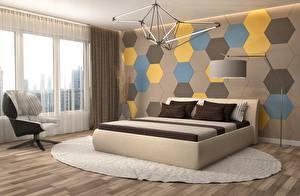 Обои для рабочего стола Интерьер Окна Кресло Стенка Лампы Кровать Спальни Дизайна 3D Графика