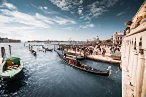 Фото Италия Лодки Причалы Небо Венеция